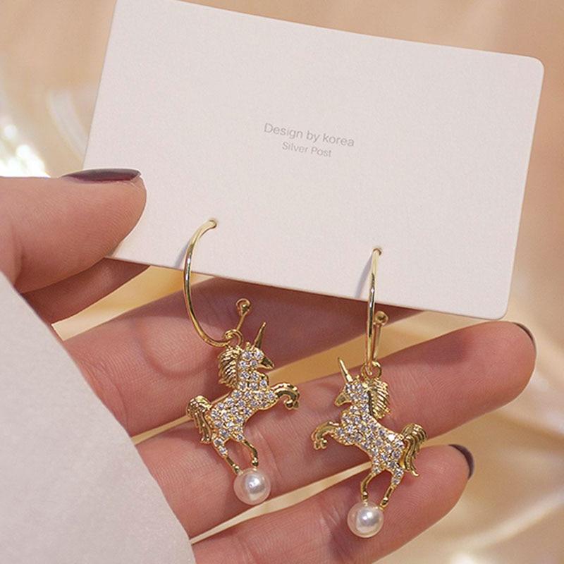 Милые изысканные таинственный Единорог жемчуг Висячие серьги для женщин дизайнерские Роскошные ювелирные изделия высокого качества AAA циркон S925 иглы