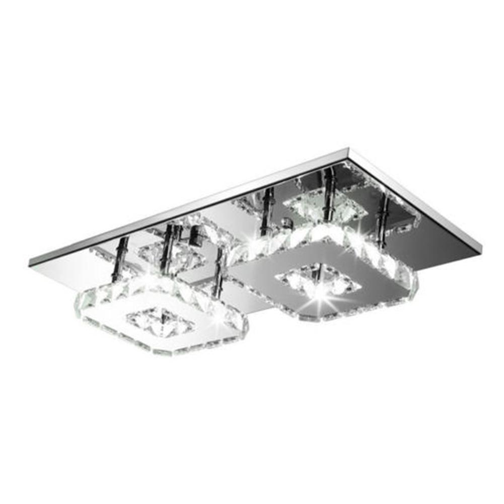 Lámpara de techo cuadrada de cristal de 24W, lámpara Led de iluminación, luz de techo, ventilador