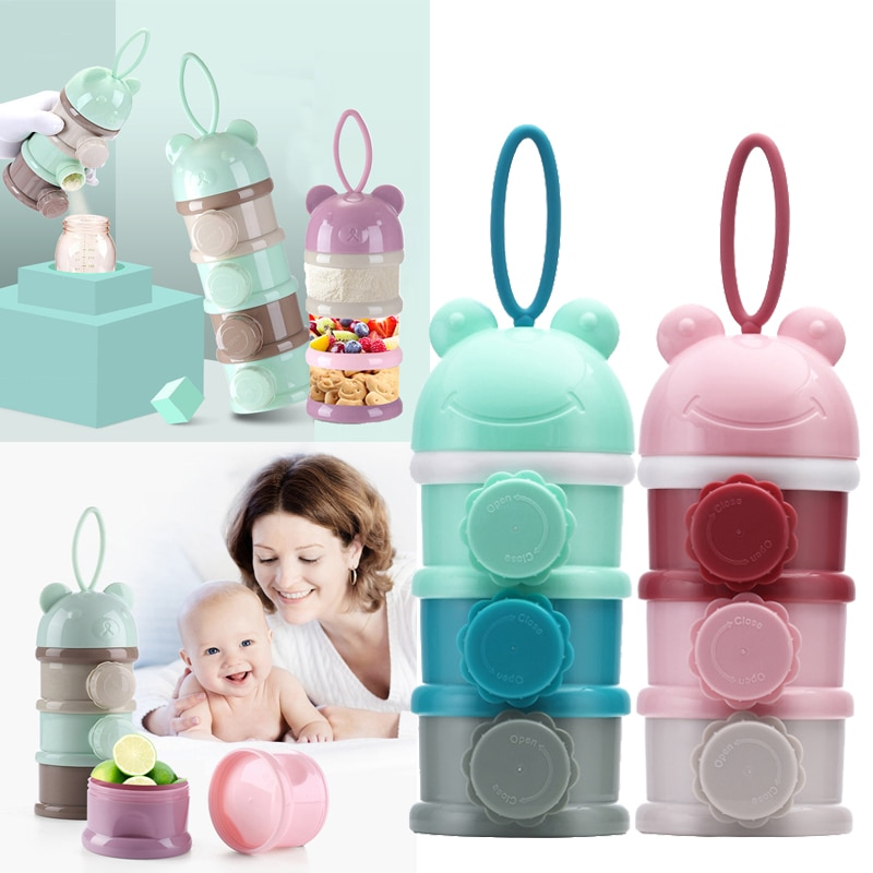 New 3/4 layers Fog Bear Portable Baby Food Storage Box Side Open Essential Cereal Milk Powder Box Infant Toddle Snacks Container