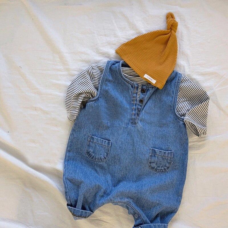 Mono vaquero MILANCEL para bebés con bolsillo delantero, monos coreanos para bebés, ropa para bebés