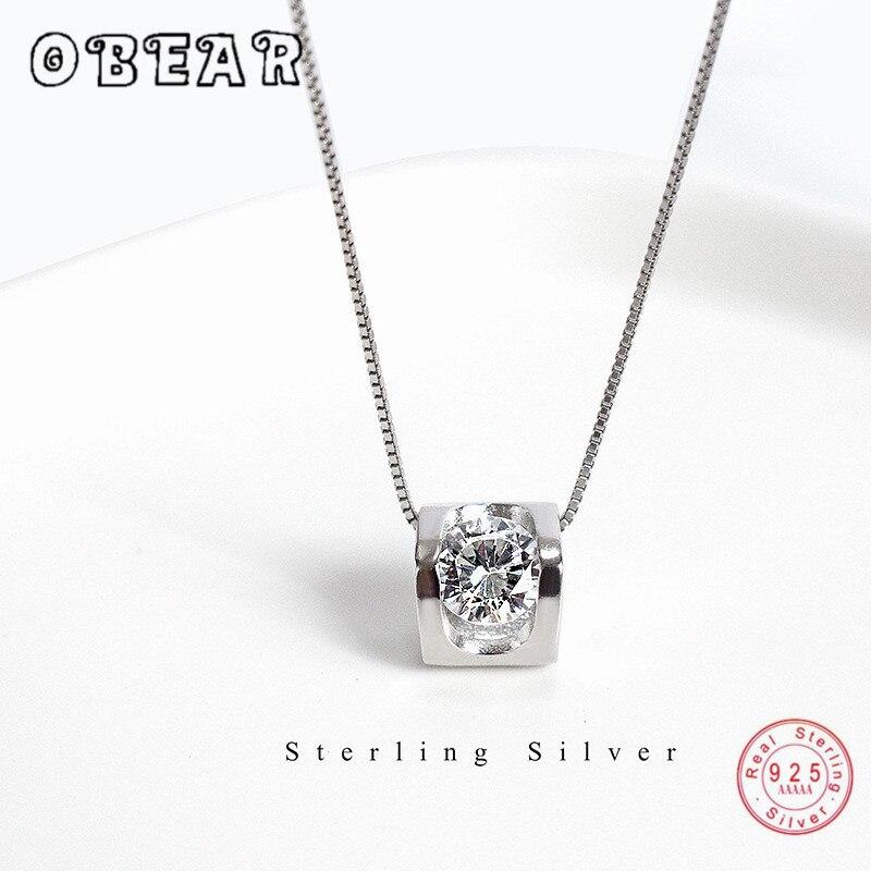 OBEAR 100% 925 Sterling Silver Heart-Shaped Single Zircon Pendant Necklace For Women Wedding Party Fashion Jewelry