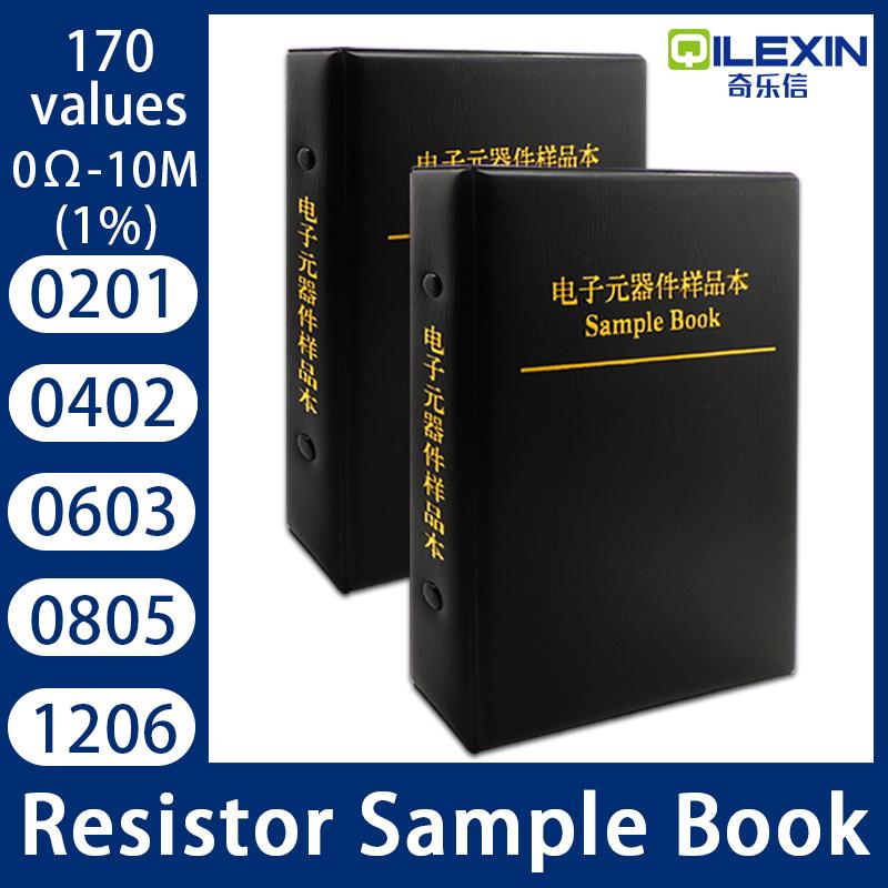 Resistor Kit Smd Book 0805 Chip Resistor Assortment Kit 0201 0402 0603 1206 1% FR-07 SMT 170 Values 0R-10M Smd Sample Book