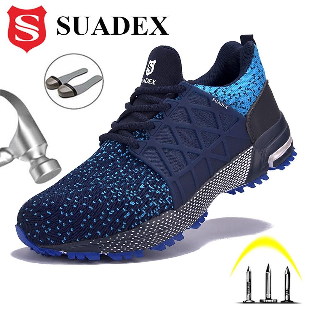SUADEX أحذية عمل تنفس العلوي الصلب تو الأحذية مكافحة تحطيم أحذية عمل واقية أحذية عمل للرجال النساء العمل حذاء رياضة EUR حجم 37-48