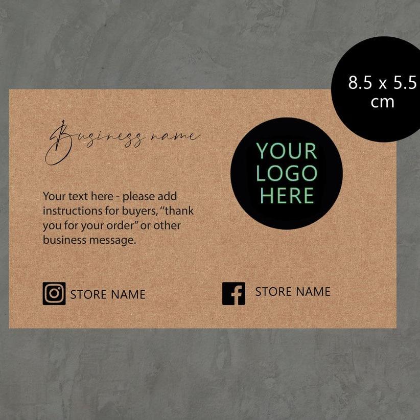 carddsgn 200 pces pacote de cartao de visita kraft personalizado obrigado para o