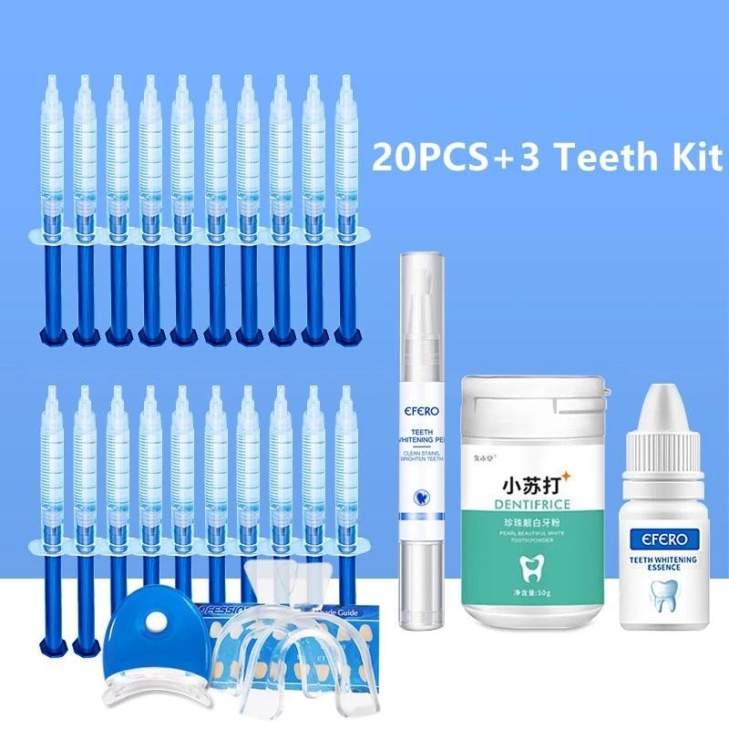 23PCS/SET Dental Equipment Peroxide Teeth Whitening Pen Essence Powder Kit Tooth Bleaching Gel Dental Brightening Whitening Set