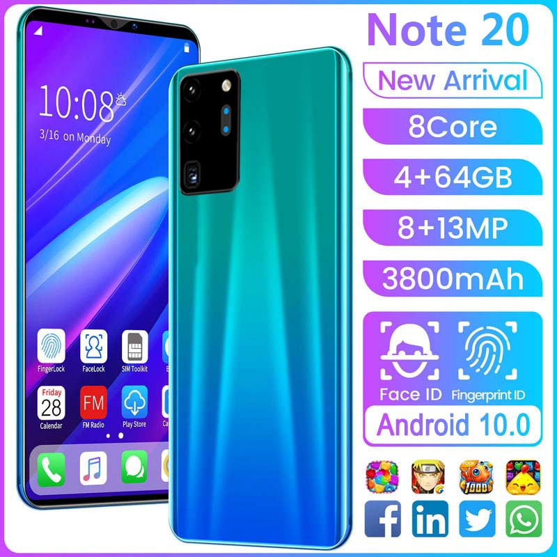 Note 20 Smart Phone 5.8 Inch Full Screen 8 Core 4+64GB Mobile Phone 3800mAh MTK6779 8+13MP Dual SIM Cell Phone 3D Glass Plated