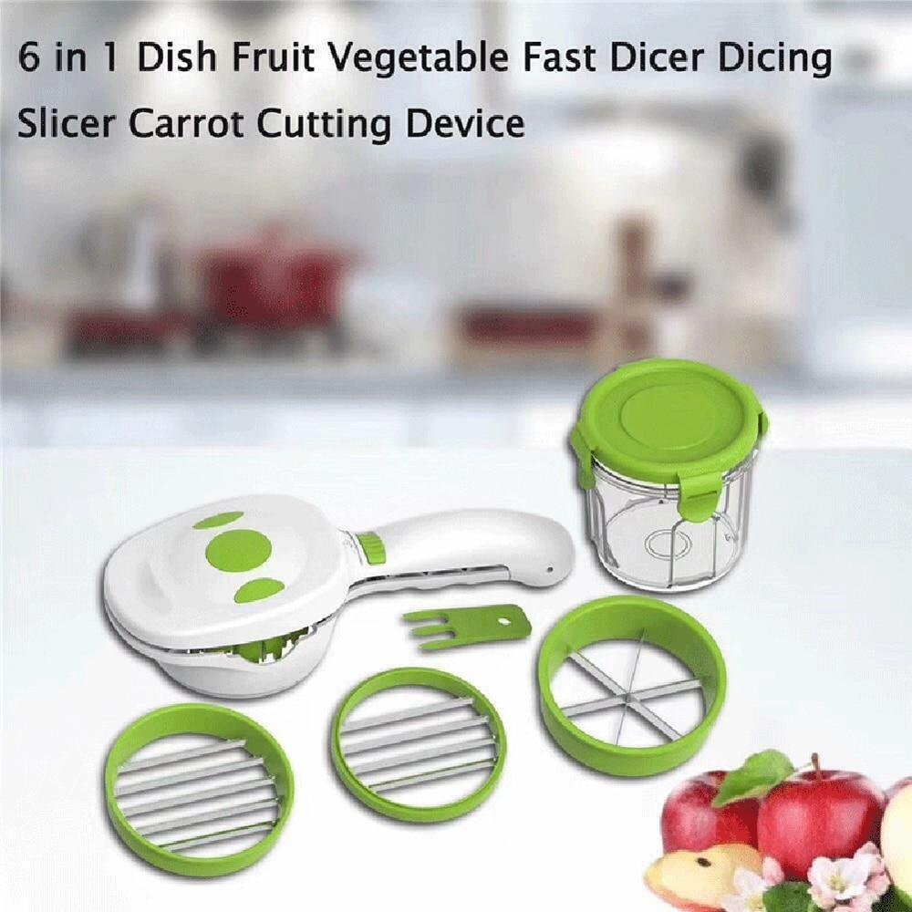 2020 nueva magia mejor rápido de acero inoxidable vegetal cortador de helicóptero 5 en 1 Multi-funcional cortador de cocina para cebolla y verduras cortadora