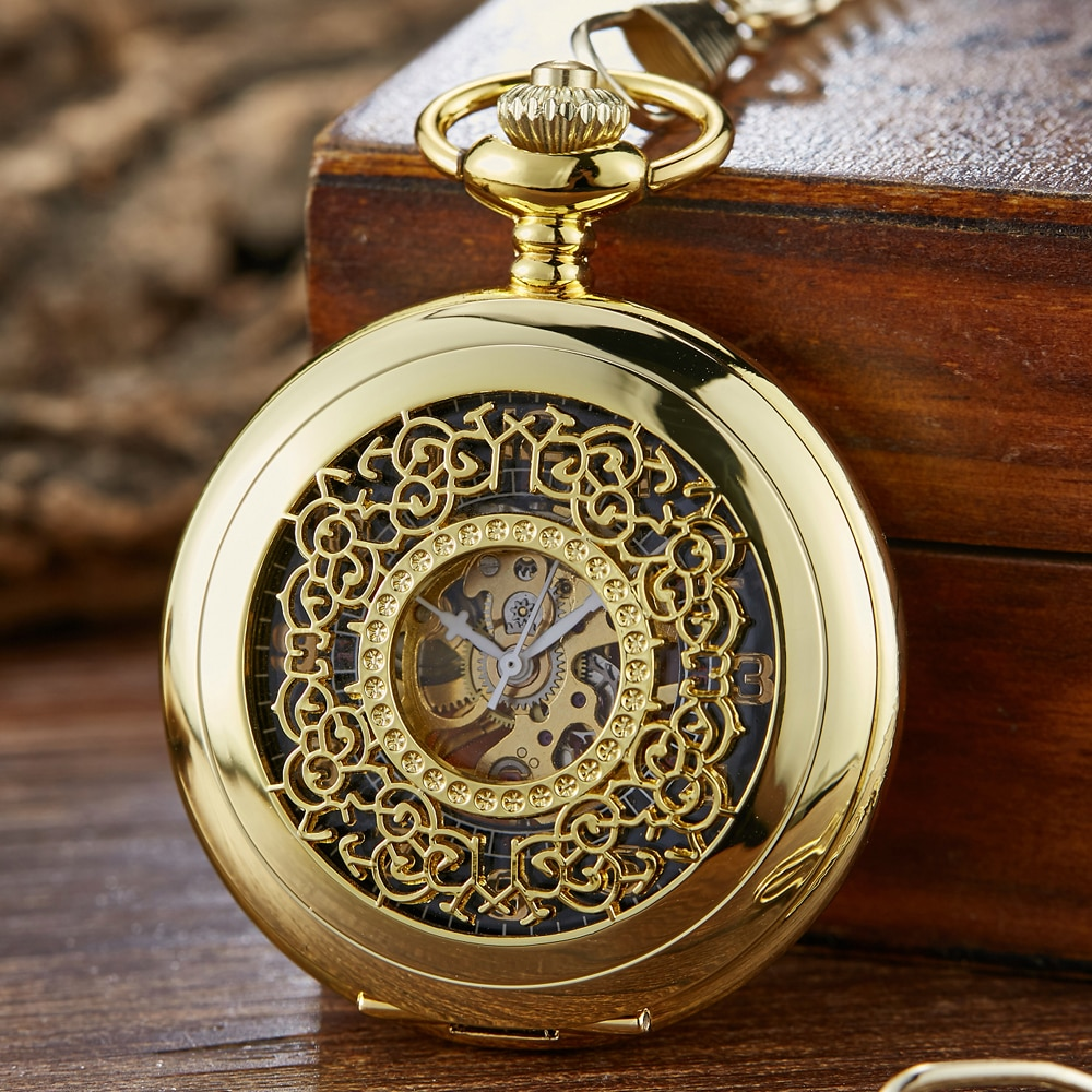 Golden Vintage Luminous Automatic Mechanical Carved Pocket Watch Steampunk Skeleton Fob Chain Hand Winding Hollow for Men Women