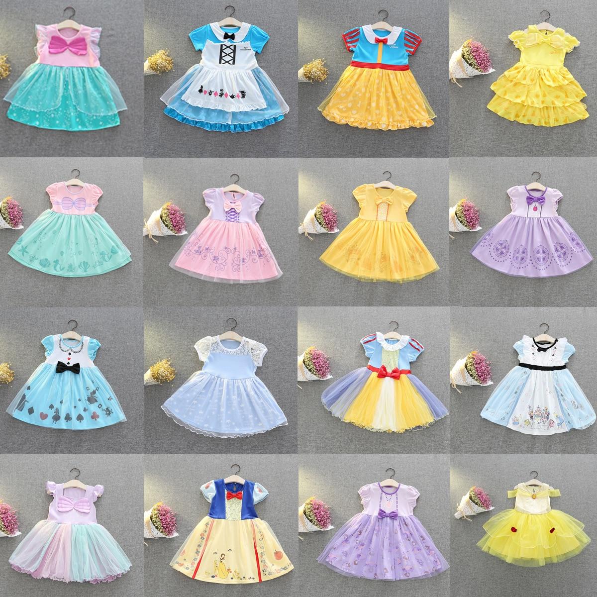 Vestidos infantiles para niñas de Disney, vestido de princesa disfraz Blancanieves para Halloween, fiesta de Navidad, Cosplay, ropa elegante para niños