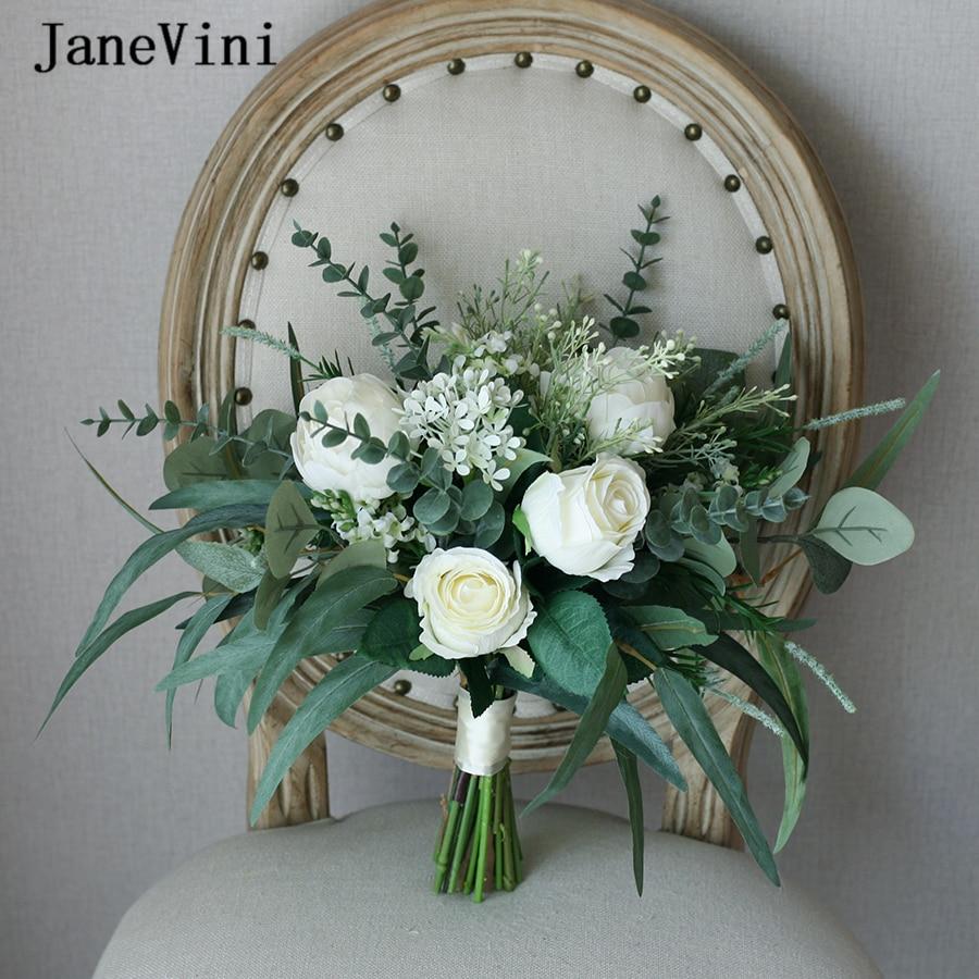 JaneVini-باقات زفاف أوروبية عتيقة ، ورود حريرية مصنوعة يدويًا ، أوراق أوكالبتوس خضراء ، بوهو ، لوصيفات العروس ، باقة زهور