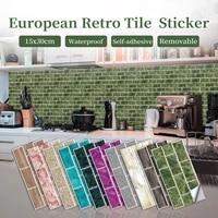retro waterproof crystal tile stickers self adhesive kitchen bathroom home renovation peel stick wall decal wardrobe mural