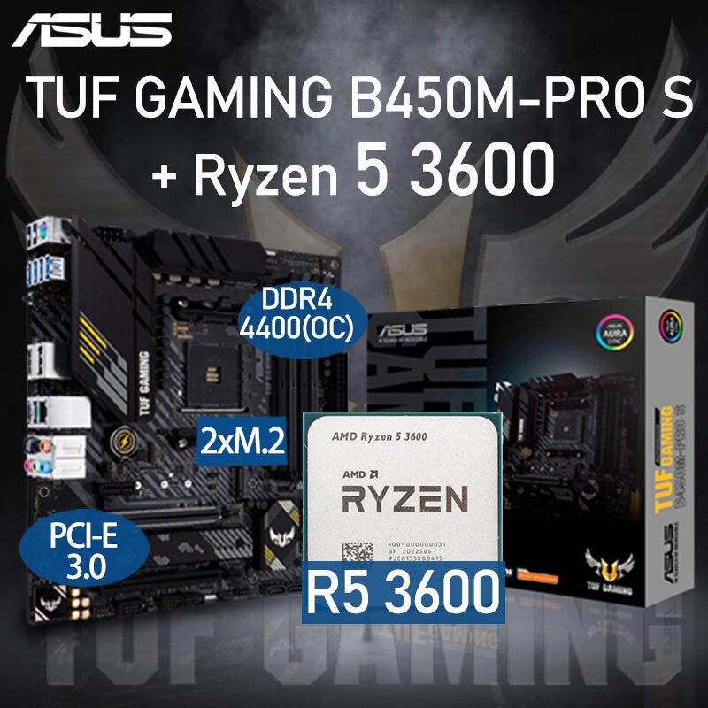 ASUS TUF GAMING B450M-PRO S Motherboard Set+AMD Kit Ryzen R5 3600 Combo DDR4 128GB PCI-E 3.0 M.2 B450 Placa-mãe AM4 Desktop B450