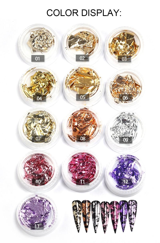 12 Colors Glitter Tinfoil Nail Reflections Tape Adhesive Foils DIY Decoration Laser Reflective Nail Sticker Manicure Decoration