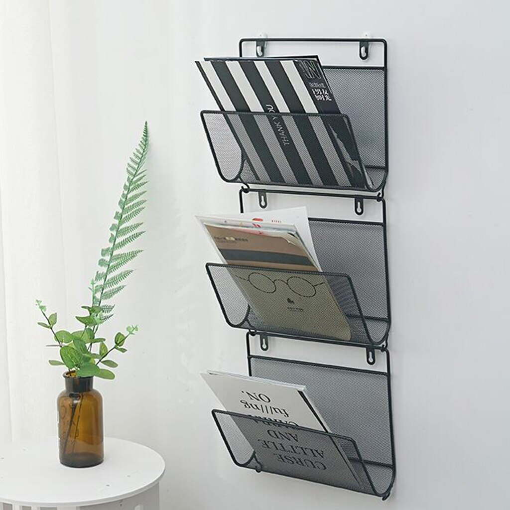 Fio de ferro revista titular rack casa wall mounted jornal organizador estante