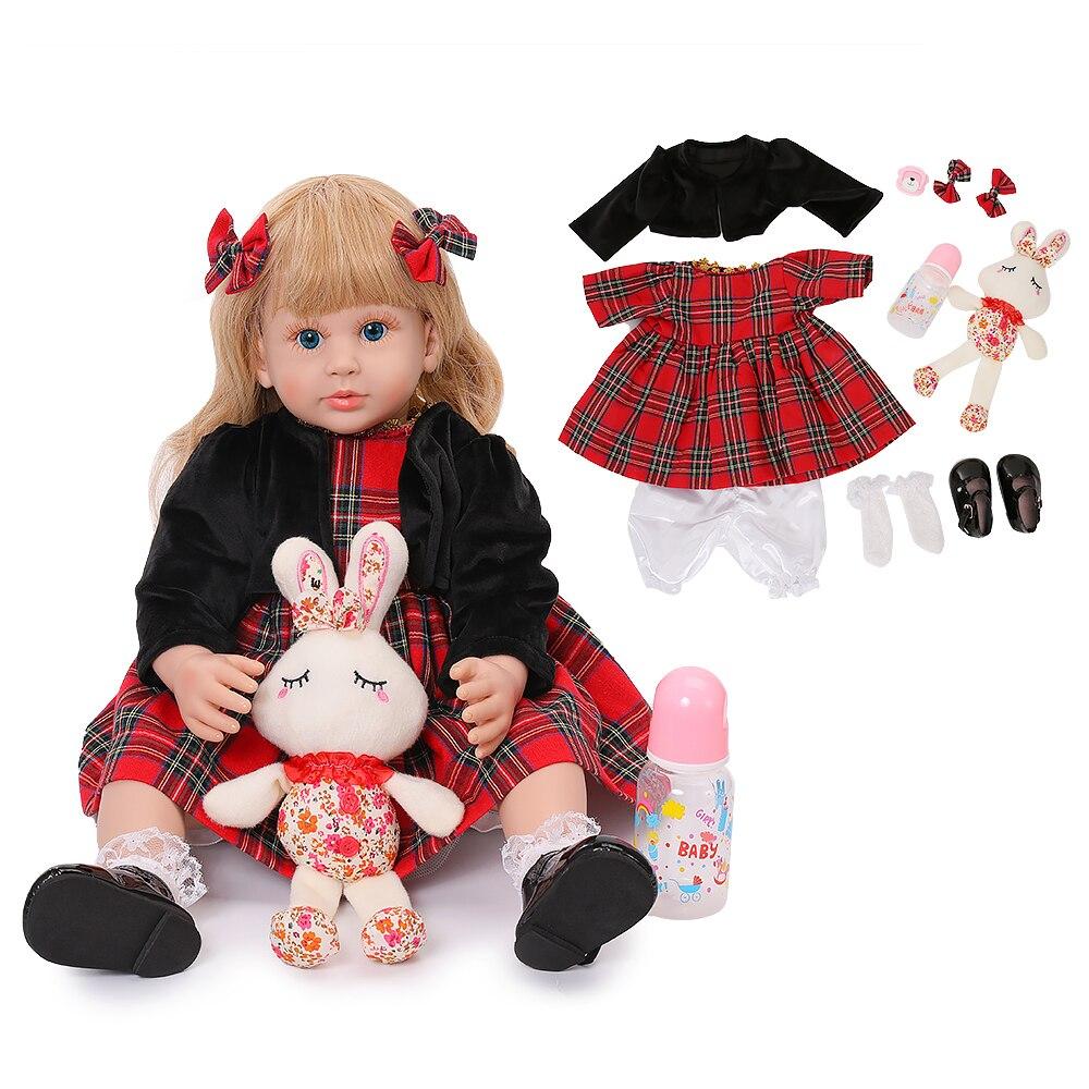 Silicone Soft Reborn Baby Dolls 58CM Realistic Long Gold Curls Princess Baby Doll Lifelike Reborn Babies Birthday Xmas Gifts Toy