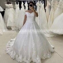 Blanc robe de bal robes de mariée épaules nues brillant Appliques Corset dos robes de mariée paillettes Tulle jupe vestido de novia