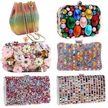 Flower Candy Color Women Evening Bags Wedding Party Event Clutch Diamonds Metal Rhinestones Handbags