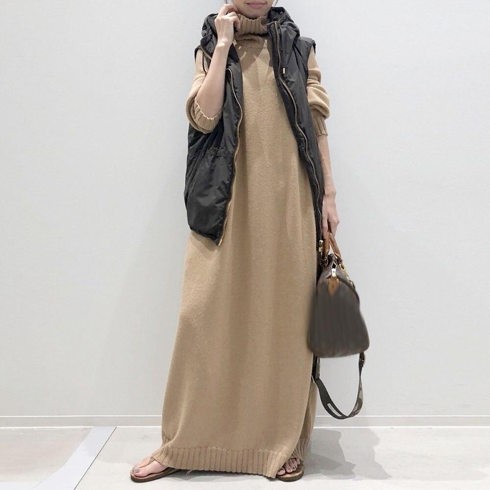 Women's Fashion Maxi Dress Casual Streetwear Long Sleeve Lady Long Dress Solid Color Turtleneck A-Line 2021 Fall Winter Dresses