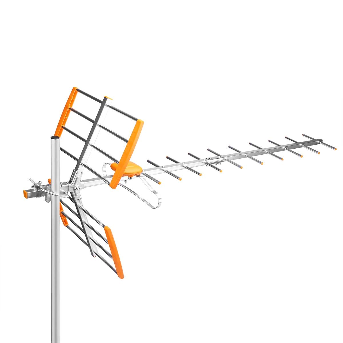 Antena exterior de alta ganancia HDTV de 80 millas, rango de recepción de 470MHz-860MHz, antena Digital amplificada para exteriores/ático/techo