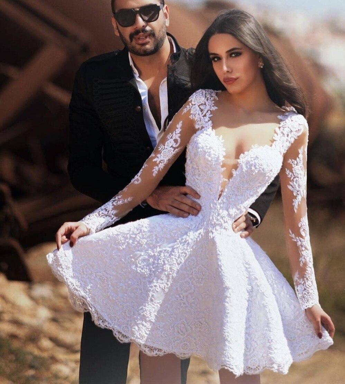 De moda de manga larga de encaje blanco boda vestido pura cuello...