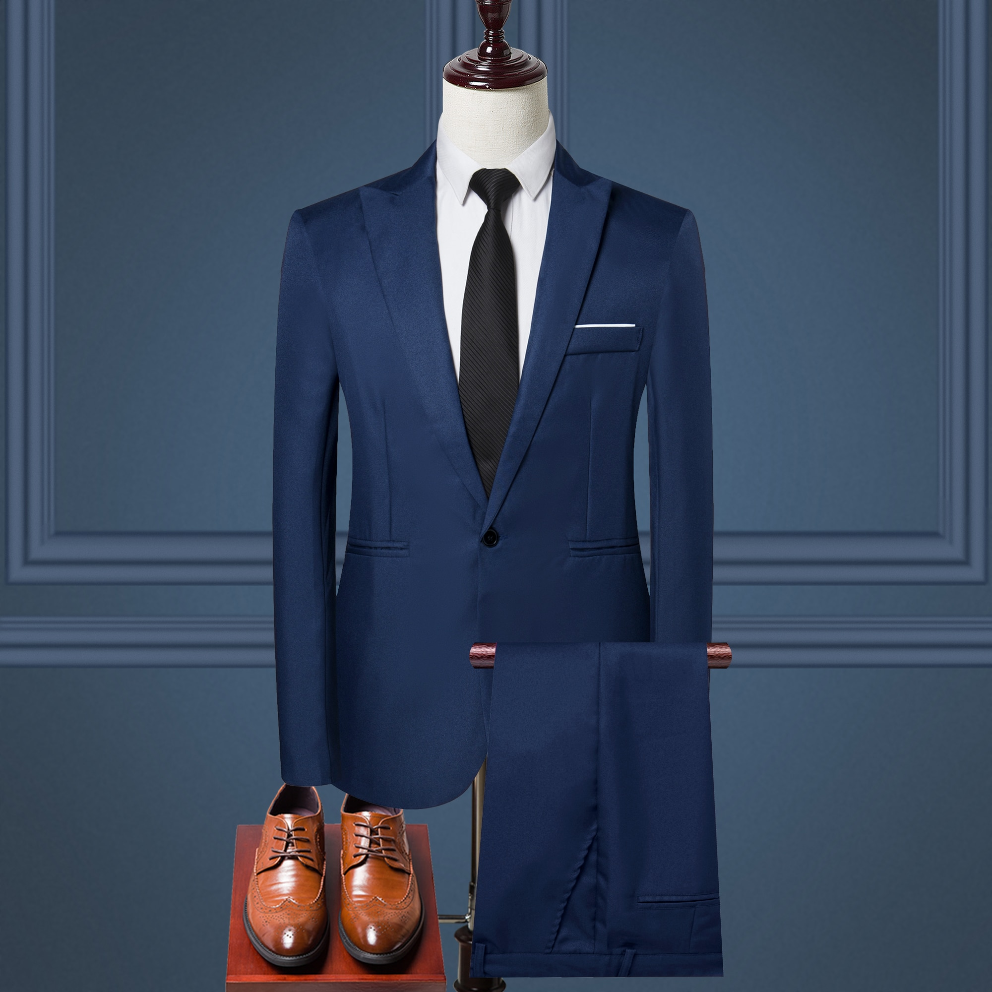 2021 nuevos hombres Slim botón traje anfitrión mostrar chaqueta abrigo y pantalón...