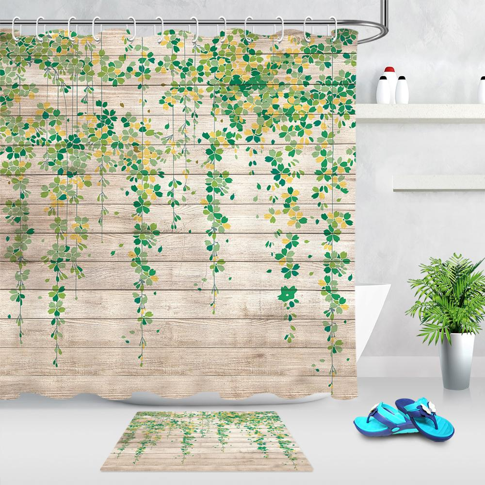 Высококачественная моющаяся занавеска для ванной комнаты с зеленым листом