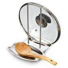 Kitchen Supplies 2-in-1 Kitchen Utensil Holder Stainless Steel Multi-function Pot Cover Holder Rack Spoon Rests