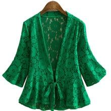 Mode dentelle mince manteau Cardigan veste femme trompette manches dentelle découpe tricoté vestes été Protection solaire vêtements femme