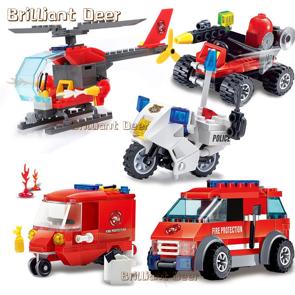 enlighten 970pcs fire rescue headquarters sation centre helicopter truck fireman assemble toy car building blocks toys Firefighting Series Fire Trucks Cars Fireman Figures Building Blocks Compatible City Vehicles DIY Assemble Toys For Kids