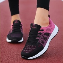 2020 New Women Shoes Flats Fashion Casual Ladies Shoes Woman Lace-Up Mesh Breathable Female Sneakers