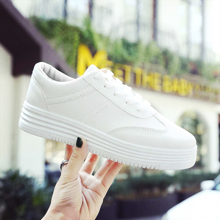 Women Casual Vulcanize Shoes 2019 New Thick Bottom Sneakers Fashion PU Leather Purity Platform White Autumn