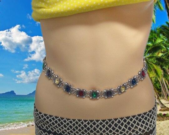 Novo estilo retro moda estilo ocidental cor diamante conjunto cinto de corrente longo barriga pingente corpo acessórios