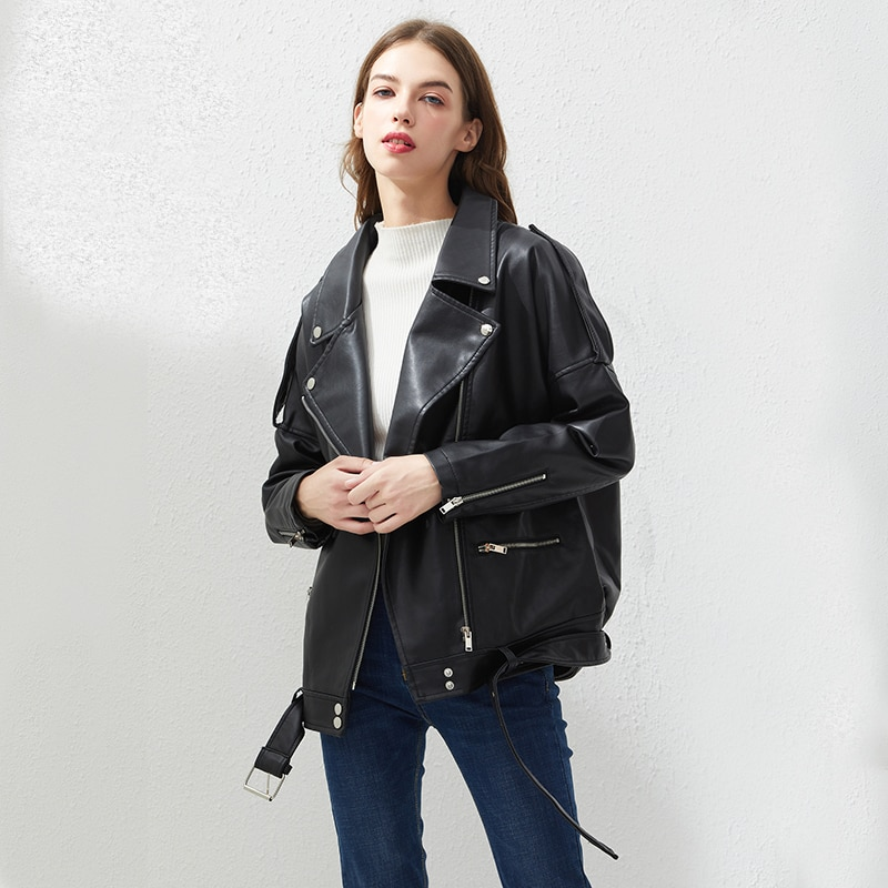 Fitaylor PU Faux Leather Jacket Women Loose Sashes Casual Biker Jackets Outwear Female Tops BF Style