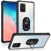 military acrylic armor shockproof case for samsung galaxy s10 lite magnetic metal ring stand holder transparent back cover coque