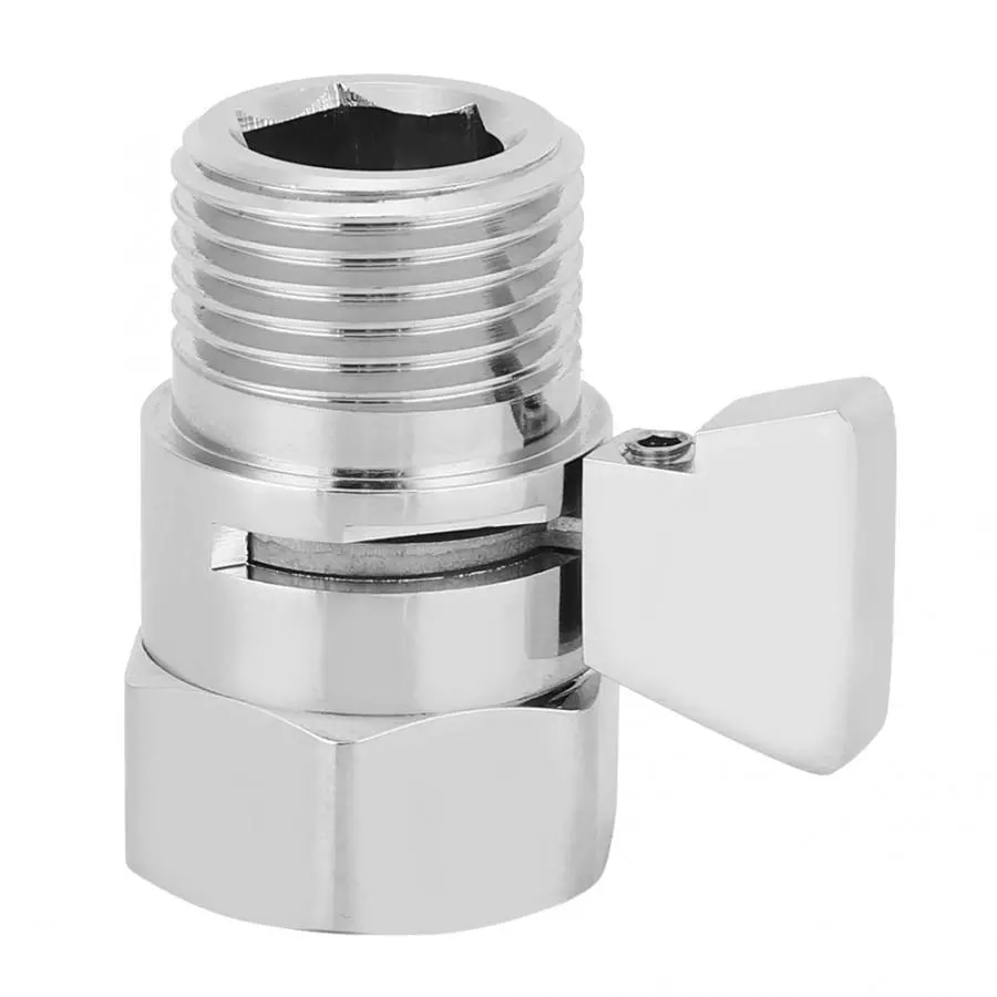 G1/2in Copper Shower Head Flow Control Switch Shut Off Stop Valve Water Saving Valve For Handheld Shower Head Bidet Sprayer Pipe enlarge