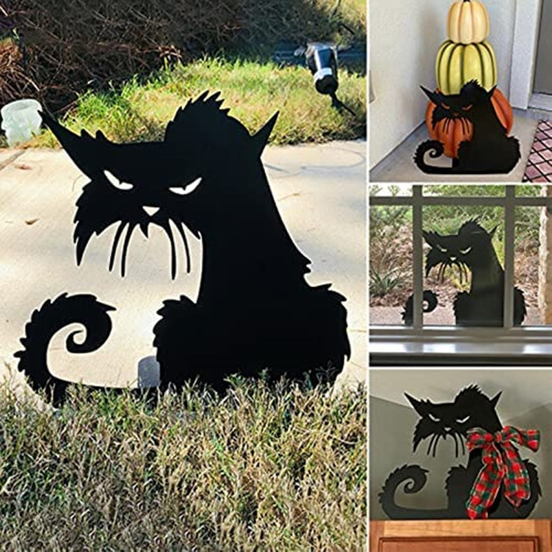 Angry Cat Decoration Iron Silhouettes Garden Ornament Metal Animal Silhouette Stake Indoor Outdoor Decoration