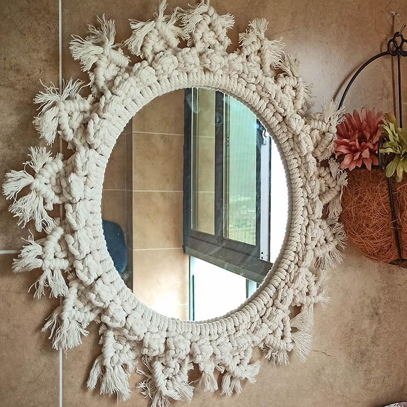 Espelhos para o Quarto Decoração da Parede Decoração do Quarto de Casa Parede Pendurado Decorativo Boho Artesanal Macrame Grande Compõem Mirrrors Sol