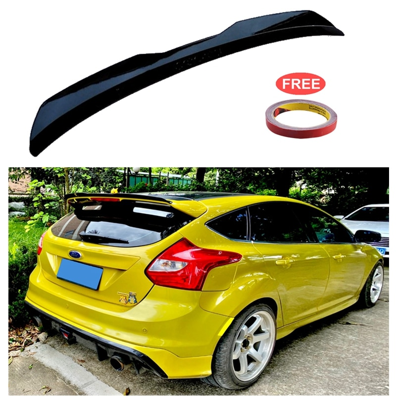 for honda civic spoiler 2016 2017 type r style car decoration rear roof tail wing abs plastic black carbon fiber pattern spoiler For Ford Focus 2012-2018 ST MK3 Hatchback Spoiler ABS Plastic Carbon Fiber Color Car Tail Wing Decoration Rear Roof Lip Spoiler