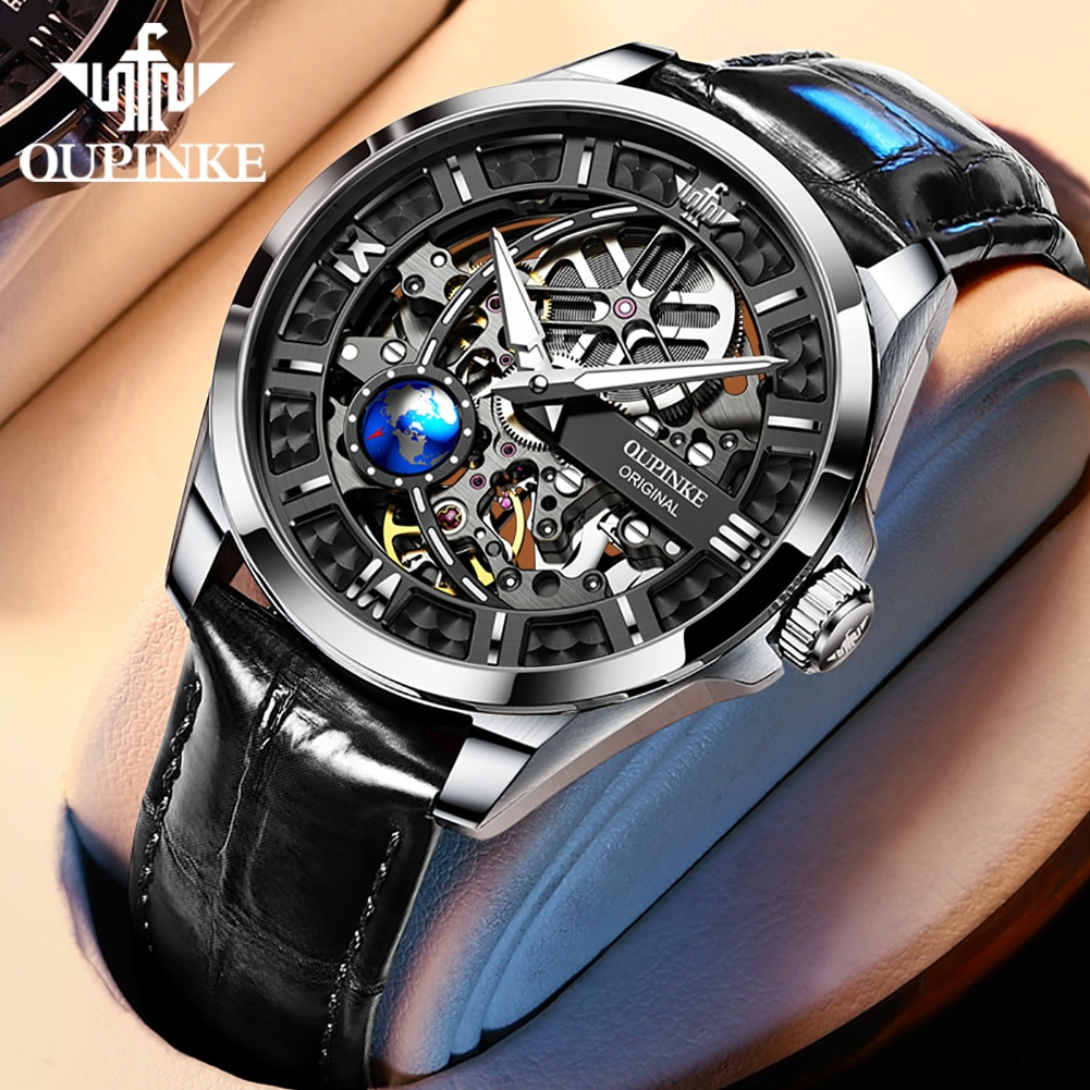 OUPINKE New Men's Automatic Mechanical Watch Skeleton Design 50M Waterproof Sapphire Mirror Leather