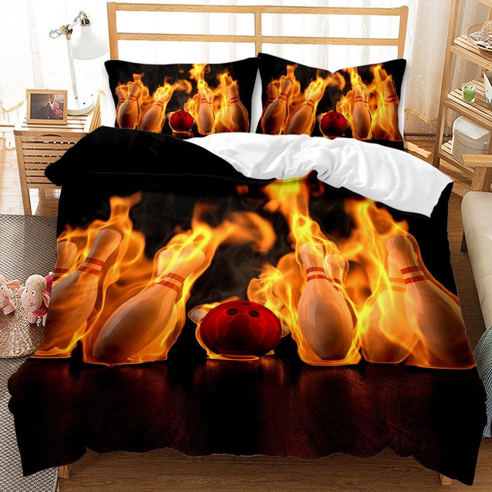 مجموعة أغطية سرير بولينج مع لهب ، سلسلة رياضية ، غطاء لحاف فاخر للأطفال والمراهقين ، طقم سرير 150 ، غطاء لحاف ، مقاس كينغ مزدوج
