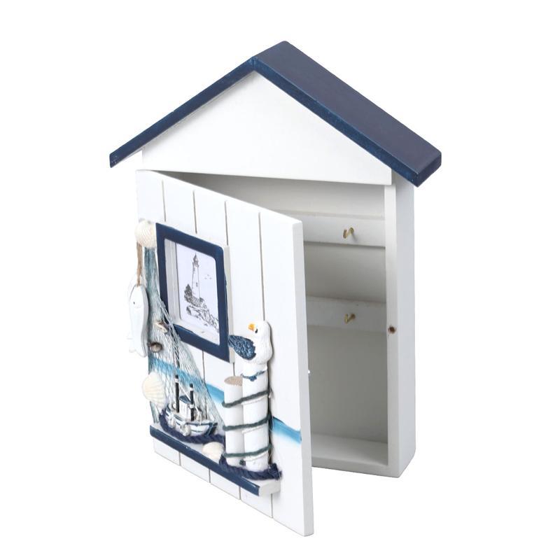 Promotion--Mediterranean House Key Locker Case Wall-Mounted Wooden Storage Box Key Box Storage Box Creative Home Wall Decoration