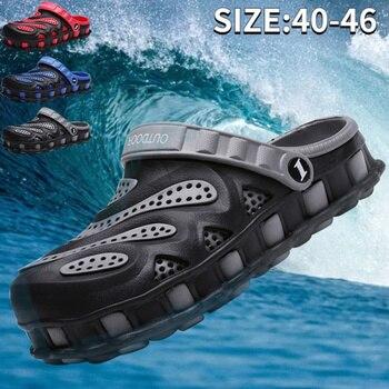 2021 Summer Men's Outdoor Hollow Breathable Hole Sandals Non-slip Lightweight Beach Sandals Garden Shoes EU40-46