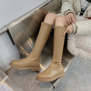 Shoes  Round Toe Women's Mid Calf Boots  Sexy Thigh High Heels High Sexy Boots-Women Luxury Designer Autumn Low Ladies Over-the-