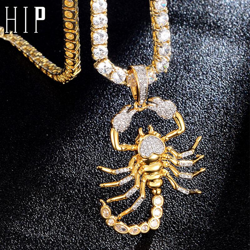Hip Hop Bling CZ Scorpion Form Iced Out Cubic Zirkon Halskette & Anhänger Für Männer Schmuck Charme Tennis Kette