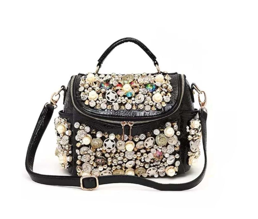 2020 new pearl ladies handbag fashion rhinestone crocodile pattern luxury rivet ladies shoulder bag large capacity Messenger bag