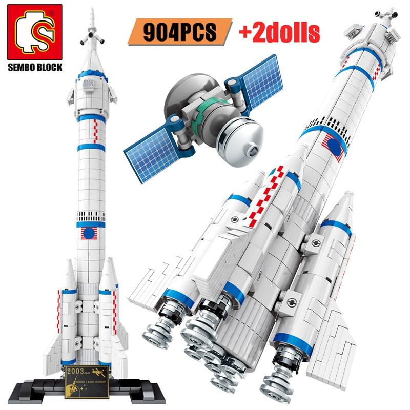 SEMBO Creator, bloques de construcción con cohete de aviación en la ciudad, vehículo de lanzamiento satelital Artificial, juguetes de regalo con tecnología espacial Cosmonaut