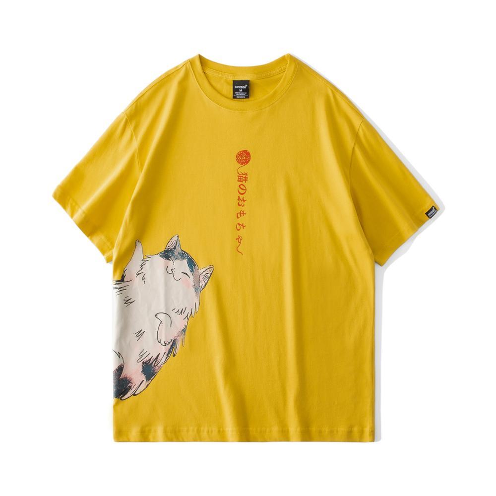 New Funny Cat Print Men Anime T Shirt 2020 Summer Animal Crossing Series Causal Mens Short Sleeve Tshirts Tees Shirt Homme tops