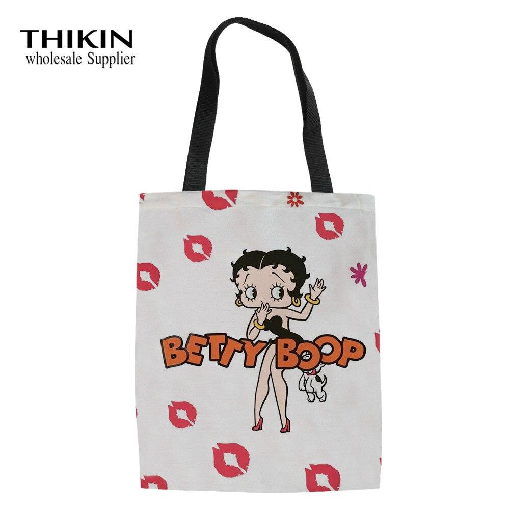 THIKIN personalizado de las mujeres de Betty Boop bolsa Casual uso diario de un solo hombro de compras bolsas de dibujos animados de algodón para mujeres bolsas de libros escolares