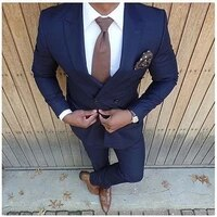 jeltonewin navy blue double breasted formal peak lapel wedding tuxedos slim fit groom suits for men groomsmen suit prom for men