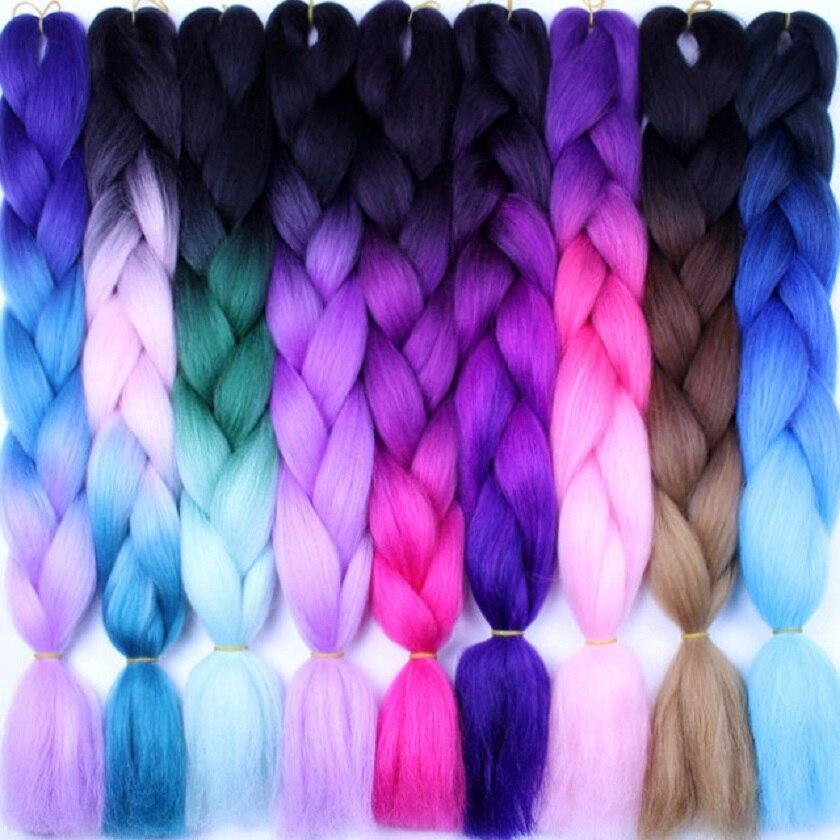 Косички для плетения волос с эффектом омбре для вязания крючком 24 дюйма 10/шт. Высокотемпературные волосы синтетические двухцветные косички...